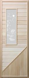 Дверь деревянная с прямоугольным стеклом