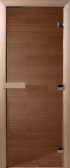 Дверь для бани стеклянная DoorWood прозрачная бронза 180*70