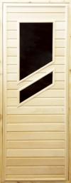 Дверь деревянная с двумя косыми стёклами