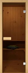 Дверь для бани стеклянная ЕкоДор прозрачная бронза